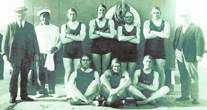 Bridport Swimming Club's water polo team, circa 1920. (Courtesy of J & D Hoskins)