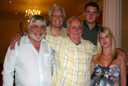 Laurie (centre) with (left to right) his first ever National Champion Jimmy Faben (1966), Commonwealth Games silver medallist Malcolm Tucker (1966) and more recent National Champions Ben Gibbs and Danielle Moore.